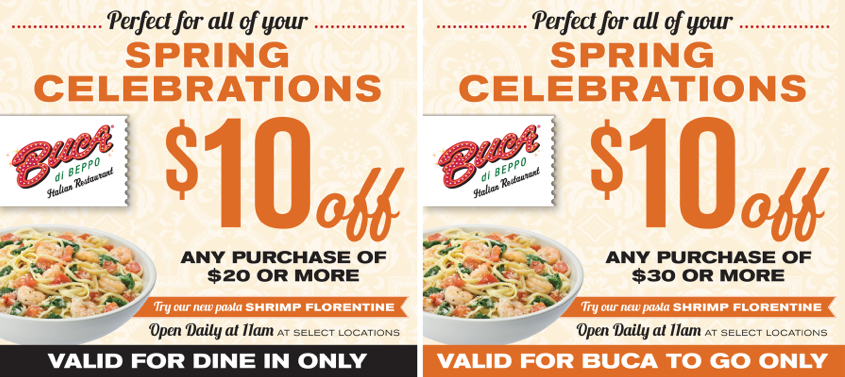 photograph regarding Buca Di Beppo Coupons Printable named Refreshing Buca di Beppo Discount codes: $10 off $20 Conserving My Cents